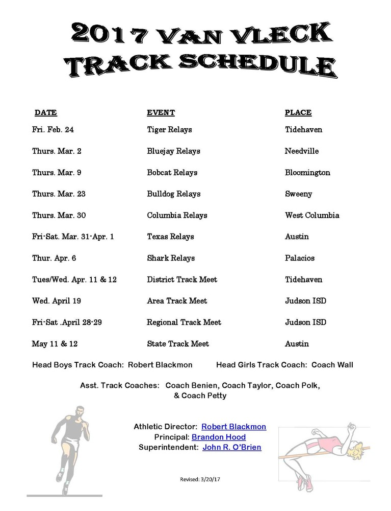 Revised HS Track Schedule