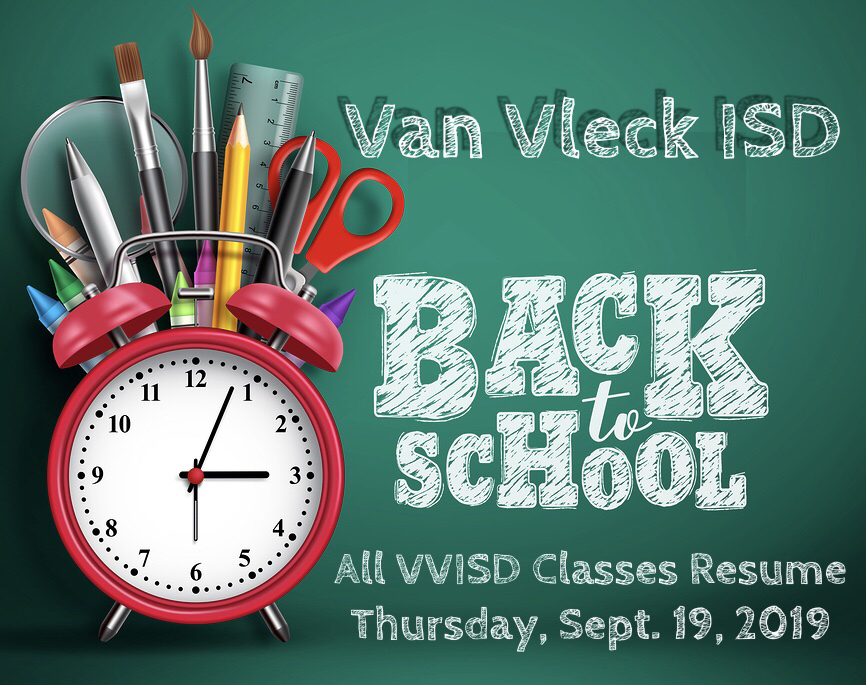 All VVISD Classes Resume Thur., Sept. 19th