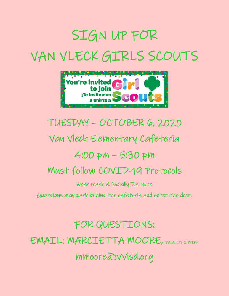Van Vleck Elementary Girl Scouts Sign Up