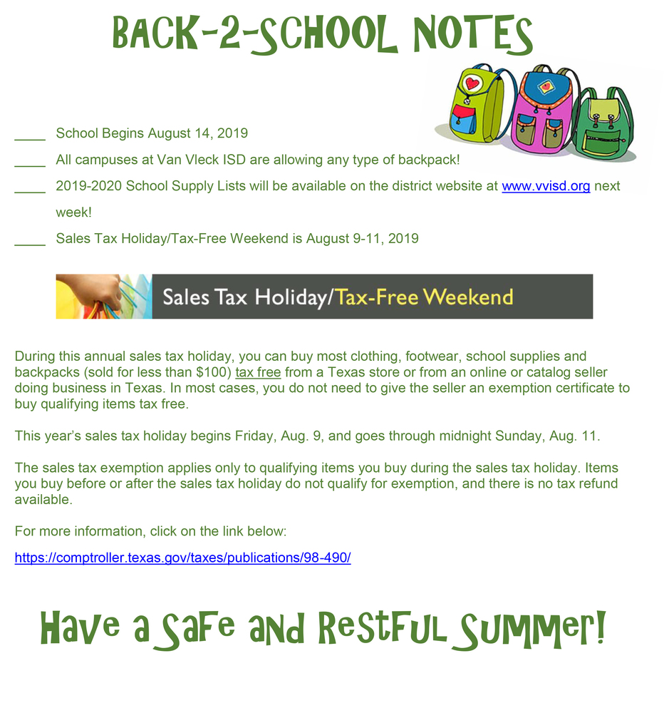 BACK-TO-SCHOOL NOTES: School Start Date, Backpack Information, School Supply List Update, & Tax Free Weekend