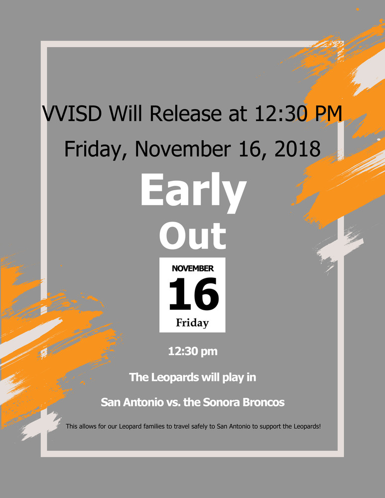VVISD Will Release at 12:30 PM Friday, November 16, 2018