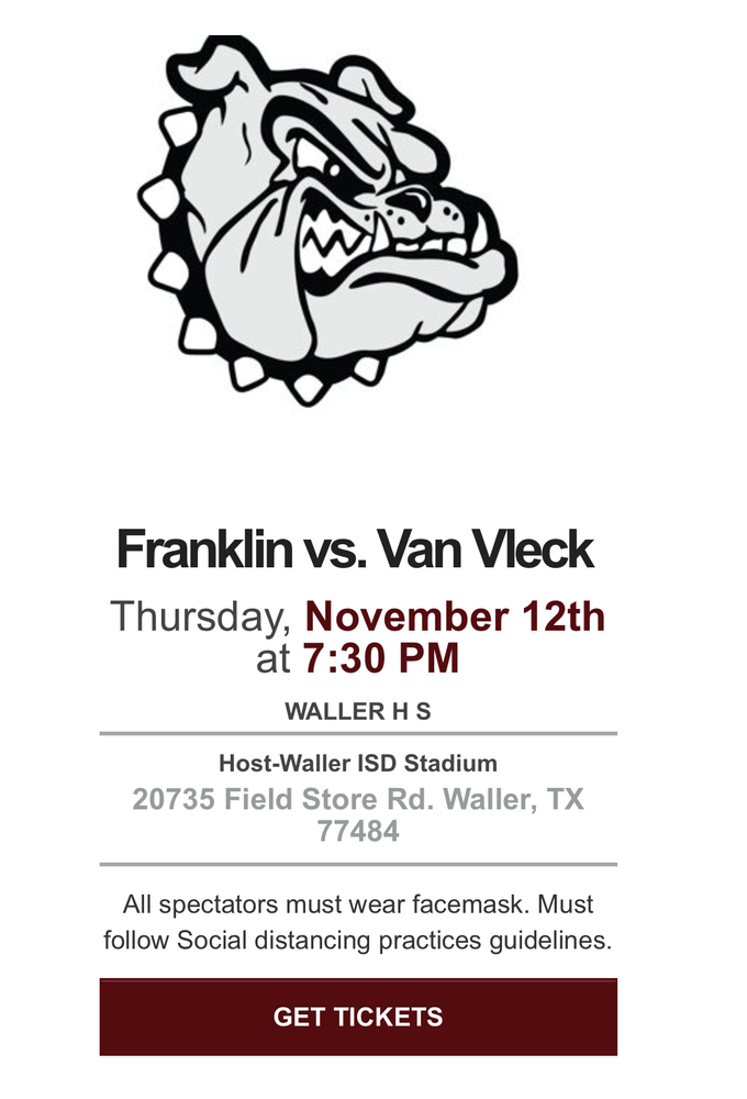 Bi-District Playoff Football Ticket Info