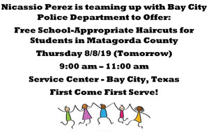 Free School-Appropriate Haircuts for Students at the Service Center - Bay City, Texas - Thursday 8-8-19