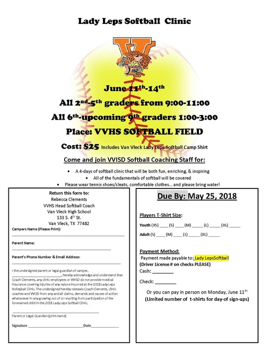 Lady Leps Softball  Clinic