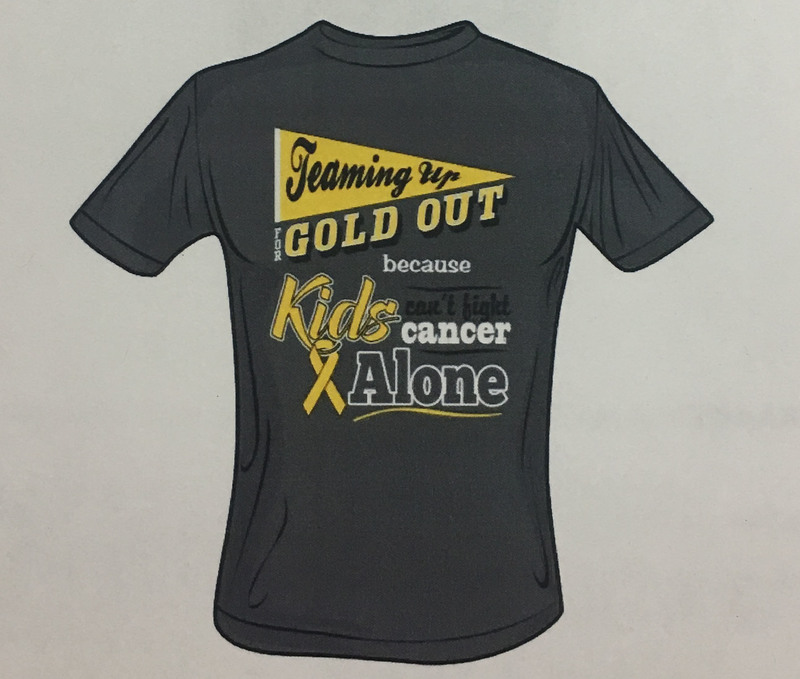 """Teaming Up to Fight Childhood Cancer"" Gold Out Shirts"
